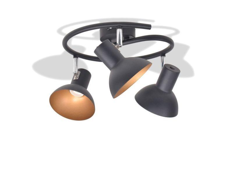 Icaverne - plafonniers ligne plafonnier pour 3 ampoules e27 noir et doré