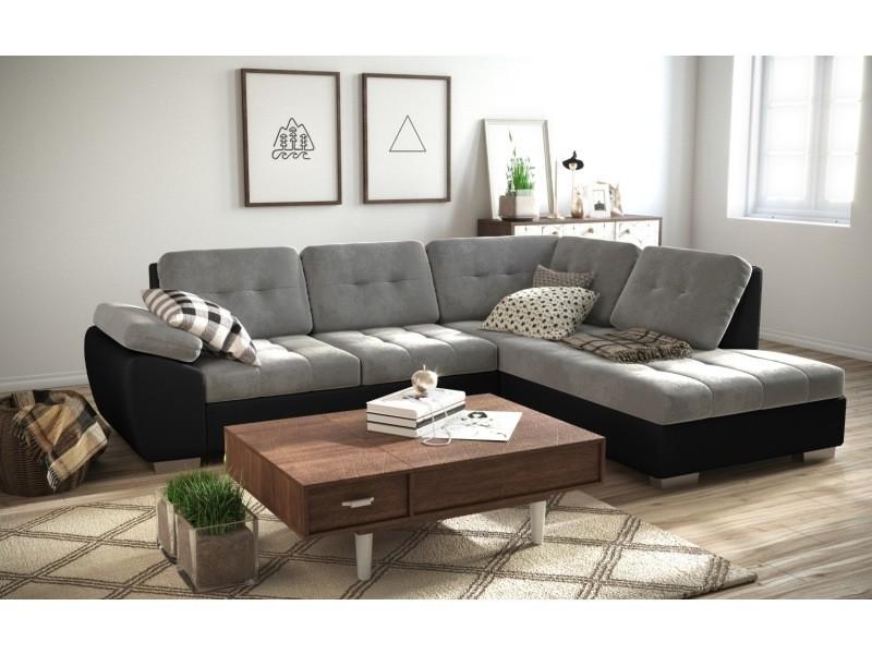 Canapé d'angle convertible en lit galis - assise en tissu et contour en simili cuir tendencio