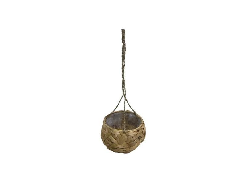 Homea suspension pot en jacynthe d'eau - intérieur en nylon - ø 15 x h 15 / 64 cm - naturel