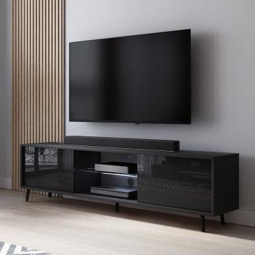 Meuble Tv Lefyr 140 Cm Noir Mat Noir Brillant Eclairage Led Vente De Meuble Tv Conforama