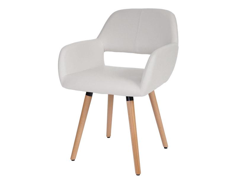 Chaise de salle à manger altena ii, fauteuil, design rétro des années 50 ~ similicuir, blanc
