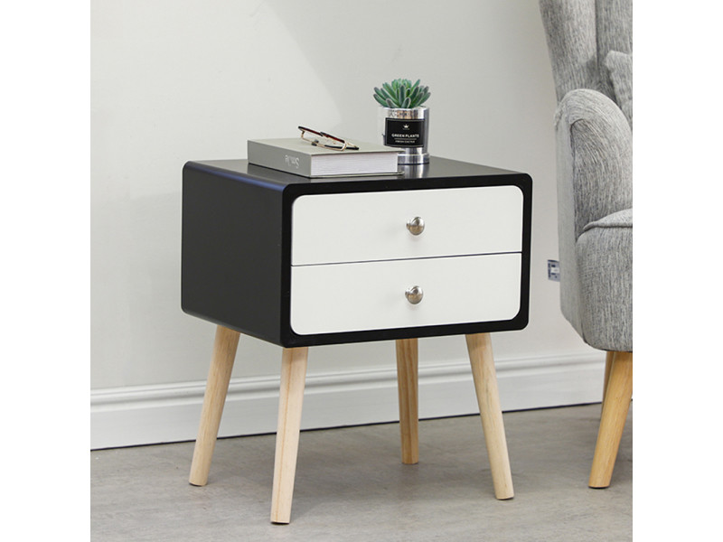 Une table de chevet hombuy noire avec 2 tiroirs blancs à glissière - style minimaliste nordique 40*32*50cm