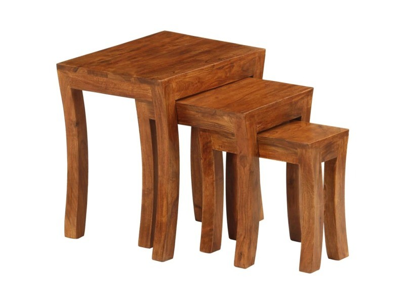Vidaxl table gigogne 3 pcs bois massif d'acacia 50x35x50 cm marron 246101