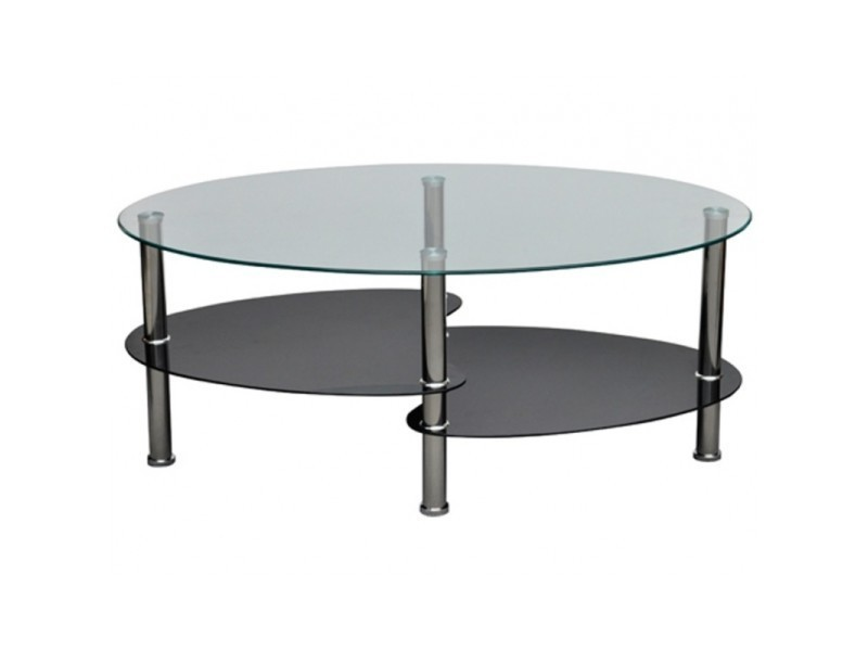 Table basse de salon salle manger design noir verre 90 x 45 cm helloshop26 - Table salon verre design ...