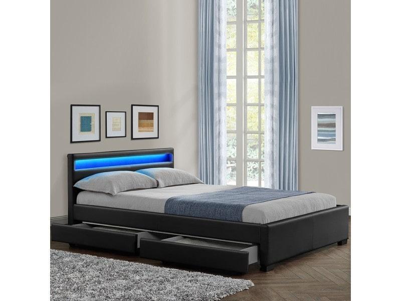 lit conforama 160x200 lit adulte x cm with lit conforama 160x200 lit adulte x cm avec led. Black Bedroom Furniture Sets. Home Design Ideas