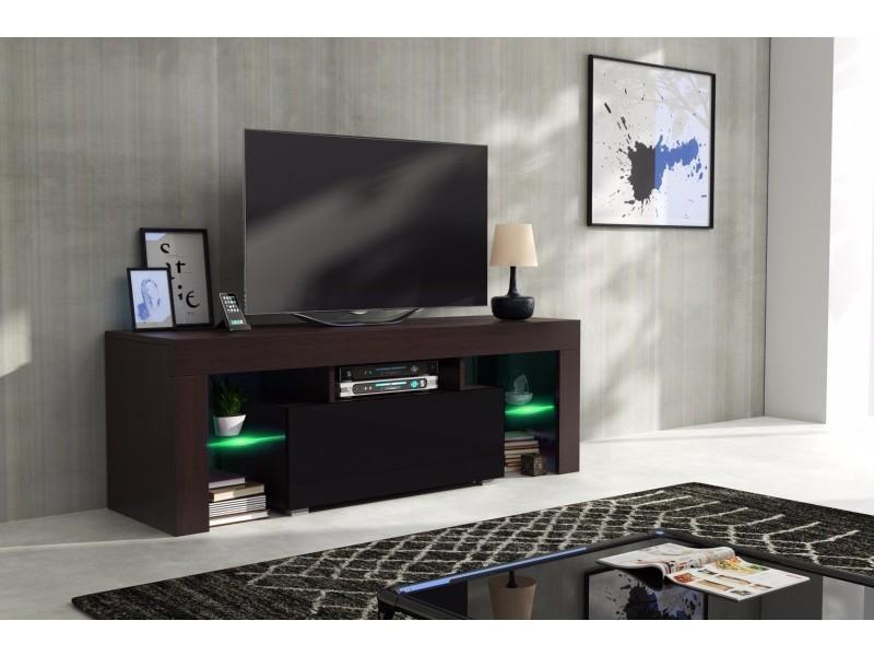 Meuble Tv 130 Cm Corps Wengue Mat Et Porte Laquee Noir Avec Led Rgb Vente De Meuble Tv Conforama