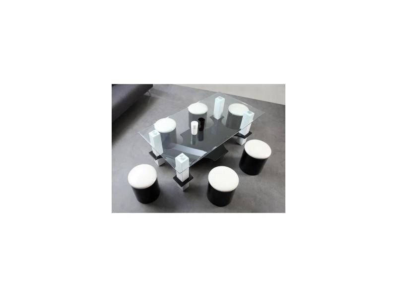 Poufs Noir Contemporain Bodega Basse6 Blanc Table L Et 130 Mdf fv6yIYgb7