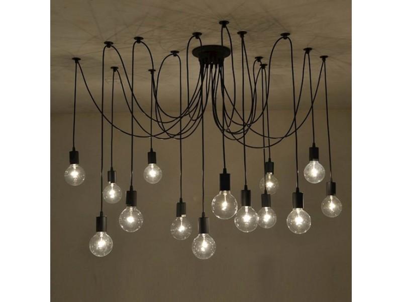 Suspension En Métal Peinture Electrostatique Noir Luminaire Design