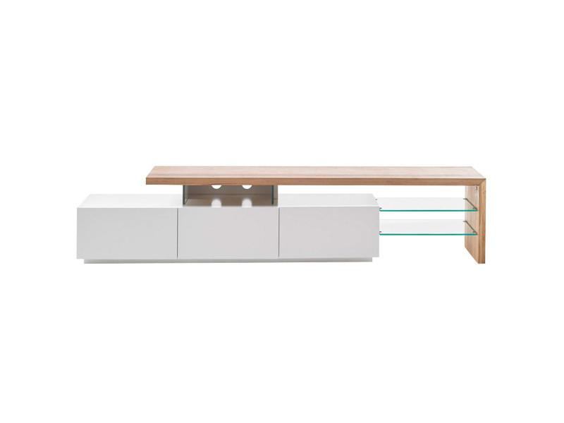 Meuble tv design laqué blanc plateau chêne 204 cm media