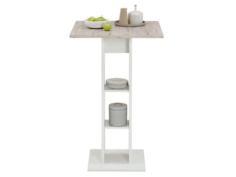 Fmd table de bar blanc et chêne sable 428695