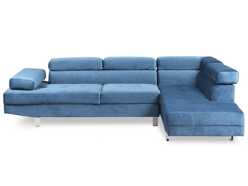 Canapé d angle avec têtières relevables alfa velours bleu - Vente de Canapé  d angle - Conforama 53ead1945e64