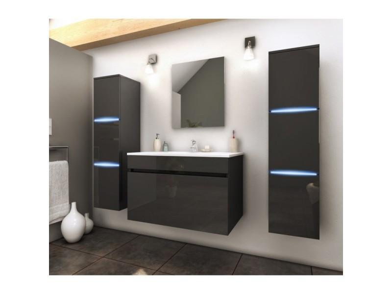 Meuble de salle de bain simple vasque 80 cm + 2 colonnes ...