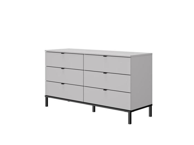 Gami commode 6 tiroirs - gris et noir - l 45 x p 135 x h 76 cm - castel 1H1P170