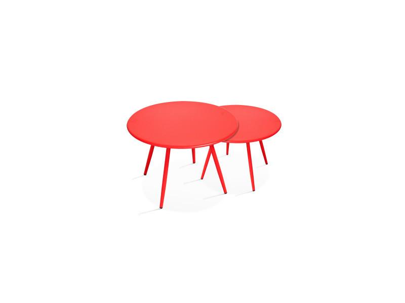 Tables basses de jardin en métal, palavas acier rouge