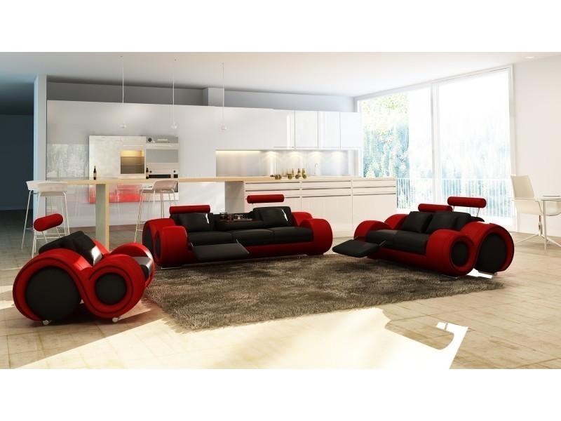 Ensemble cuir relax oslo 3+2+1 places noir et rouge-