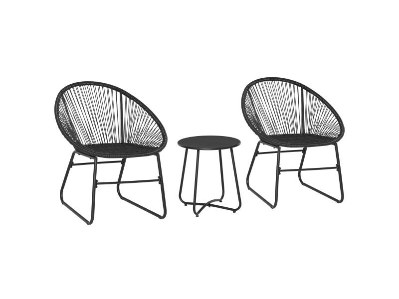 Ensemble salon de jardin design néo-rétro acapulco 2 fauteuils et table basse résine filaire noir