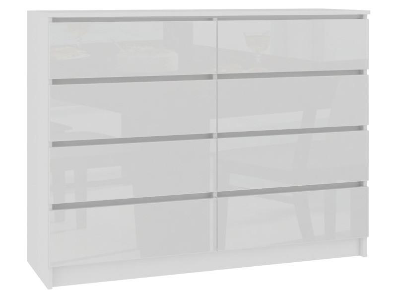 Cupid - commode contemporaine chambre/salon/bureau 8 tiroirs brillants - 138x99x40cm - meuble de rangement multi-fonctionnel - blanc laqué
