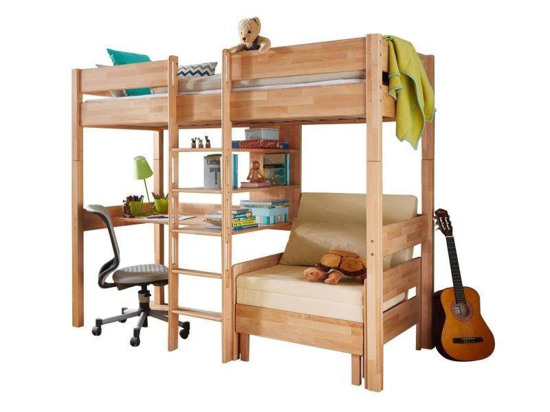 Lit mezzanine combiné 90x200 cm avec bureau fauteuil et 3 étagères