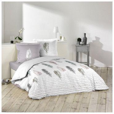 parure housse de couette 260 x 240 cm light spirit conforama. Black Bedroom Furniture Sets. Home Design Ideas