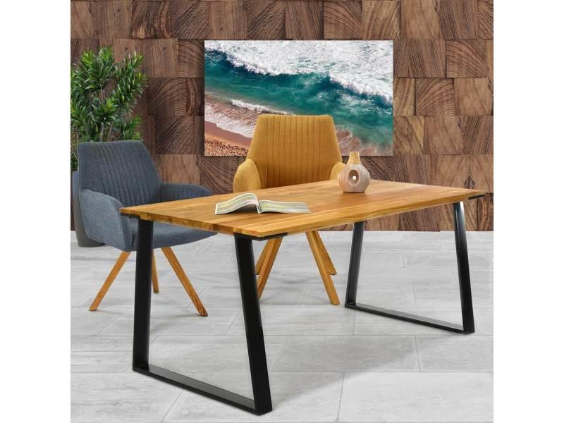 Table à manger industrielle bois et métal sany - couleur marron