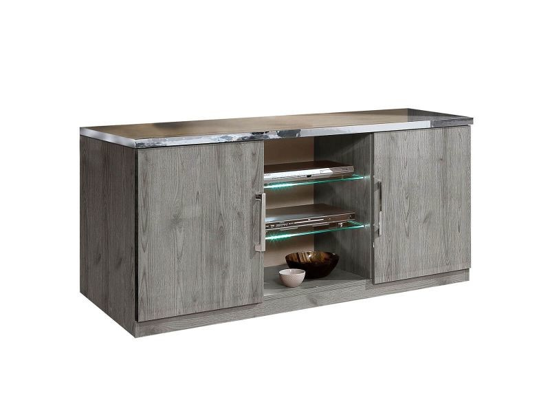 Naktam - meuble tv 2 portes aspect chêne gris laqué