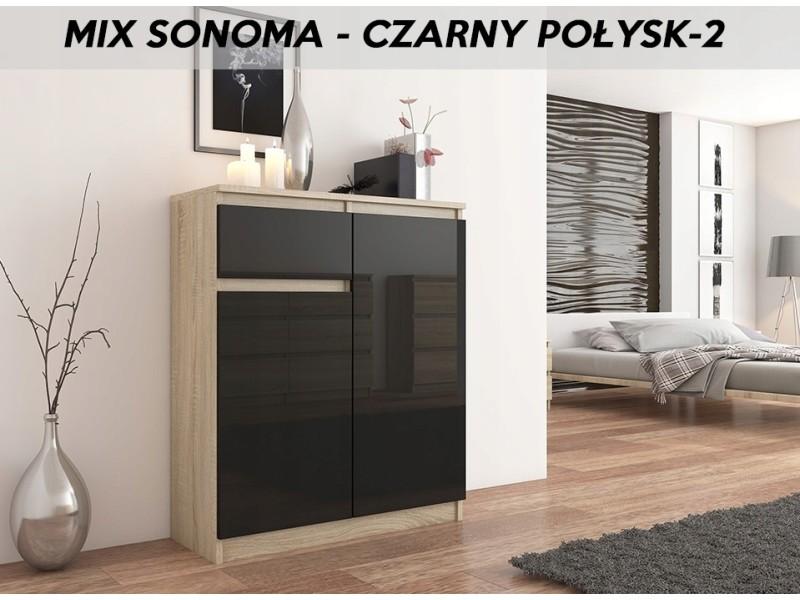 Moscow s2 | buffet moderne salle à manger 98x80x40 cm | commode contemporaine chambre salon bureau | meuble de rangement | sonoma/noir laqué
