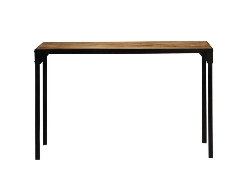 Vidaxl table de salle à manger bois de manguier brut et acier 120 cm 246630