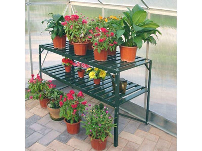 Table de jardin 2 plateaux verte COM_901605