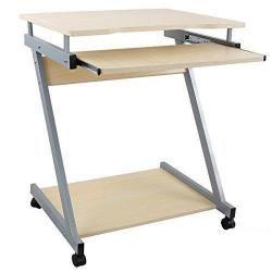Bureau table meuble informatique avec tablette clavier bois clair 0512003