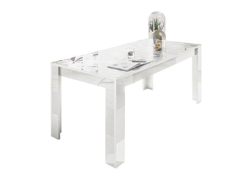 Table de repas rectangulaire laquée blanc brillant - kioo - l 180 x l 90 x h 79 - neuf
