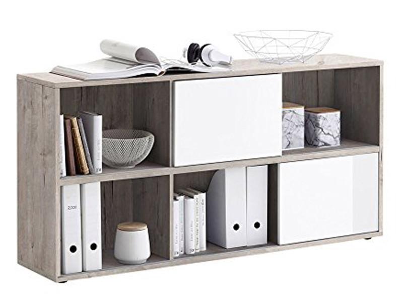 Etagère en bois coloris chêne sable / blanc brillant - dim : 145 x 33 x 72 cm - pegane -