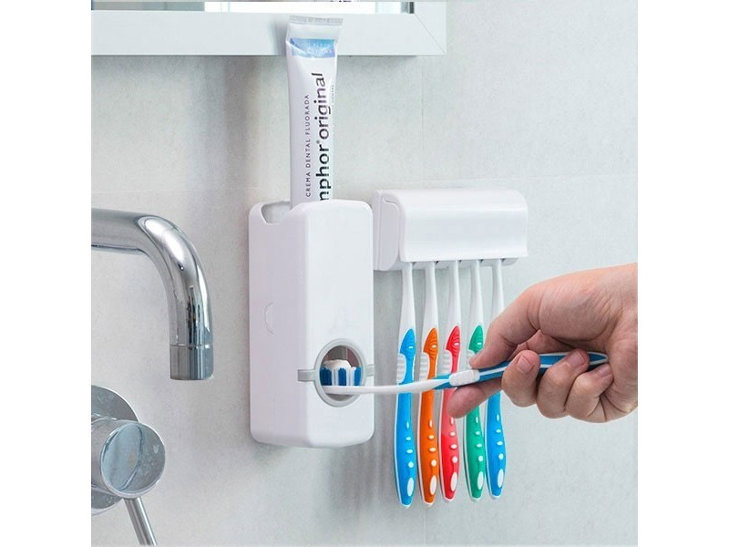 Distributeur de pâte à dents avec porte brosse à dents Toothpaste Dispenser