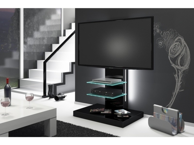 meuble tv design led noir laque conforama. Black Bedroom Furniture Sets. Home Design Ideas