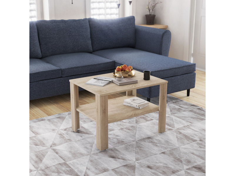 Table basse - hadory - 80x60 cm - chêne sonoma / blanc - style scandinave