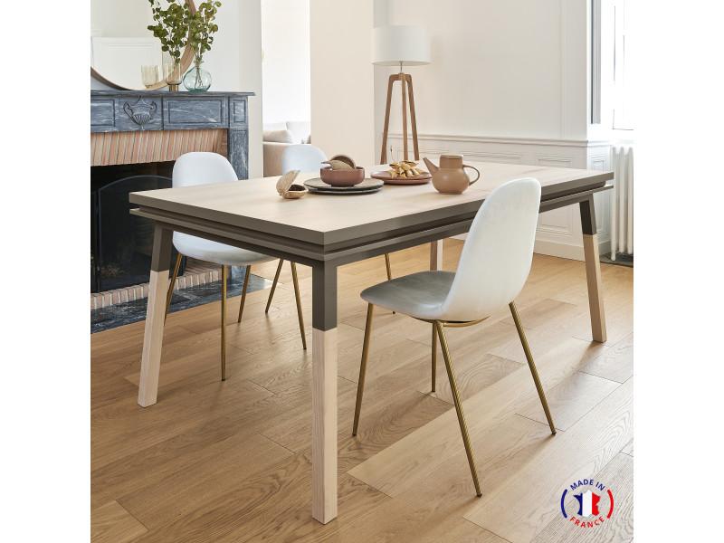 Table extensible bois massif 180x100 cm gris chocolat tanis - 100% fabrication française