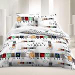 Housse de couette street life 220x240cm avec taies d'oreillers 100% coton 57 fils