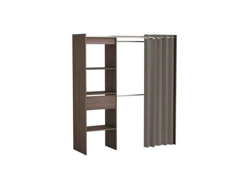 Dressing en bois noir extensible avec niches tiroir penderies + rideau coton chicago - Vente de ...