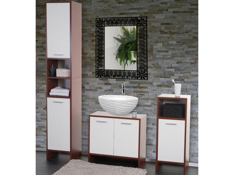 Ensemble de salle de bain coloris blanc et brun dim 179 x 31 5 x 28 cm pegane vente de - Salle de bain brun ...