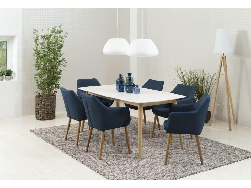 Bobochic table à manger nagane en placage chêne blanc et chêne 150