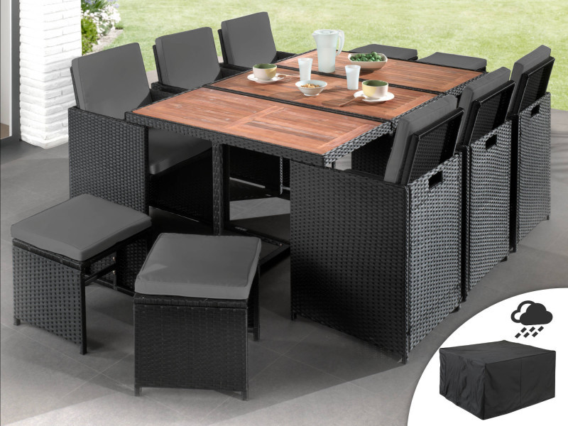 Maya - salon de jardin encastrable 10 places - en résine tressée - noir avec coussins gris + housse de protection couleur - noir