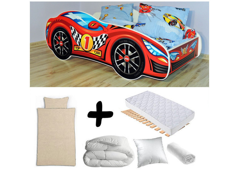 Pack complet lit enfant voiture rouge = lit+matelas & parure+couette+oreiller
