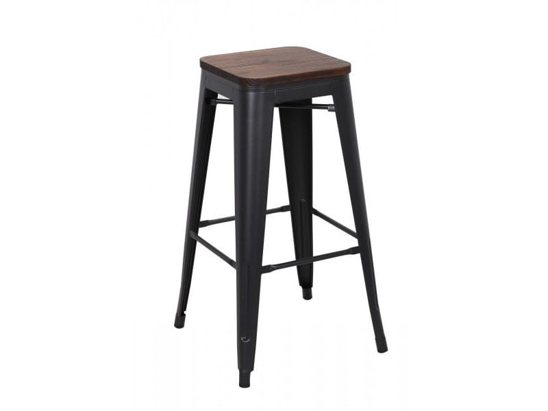 Nevada - tabouret de bar en acier gris et bois foncé