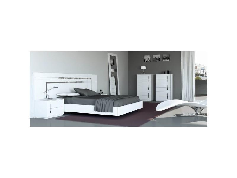 Chambre compl te verano 180 cm laqu blanc d cor inox io - Chambre a coucher complete conforama ...