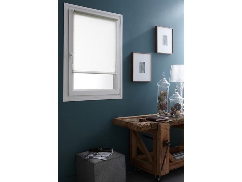 Store enrouleur tamisant blanc avec fixation sans percer 32 x 170 cm
