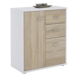 Buffet remy commode rangement 2 portes 2 tiroirs mélaminé blanc mat et décor chêne sonoma