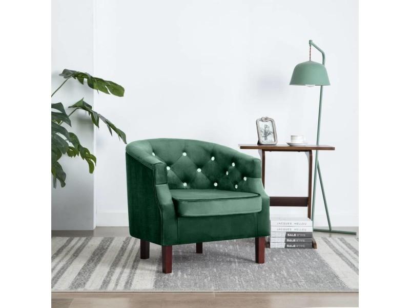Vidaxl fauteuil avec revêtement en velours 65 x 64 x 65 cm vert 247011