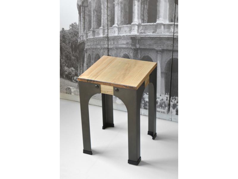 Lot de 2 tabourets bas - industriel vintage bois et métal 32x32x46 cm Pack2-CCV323246EV