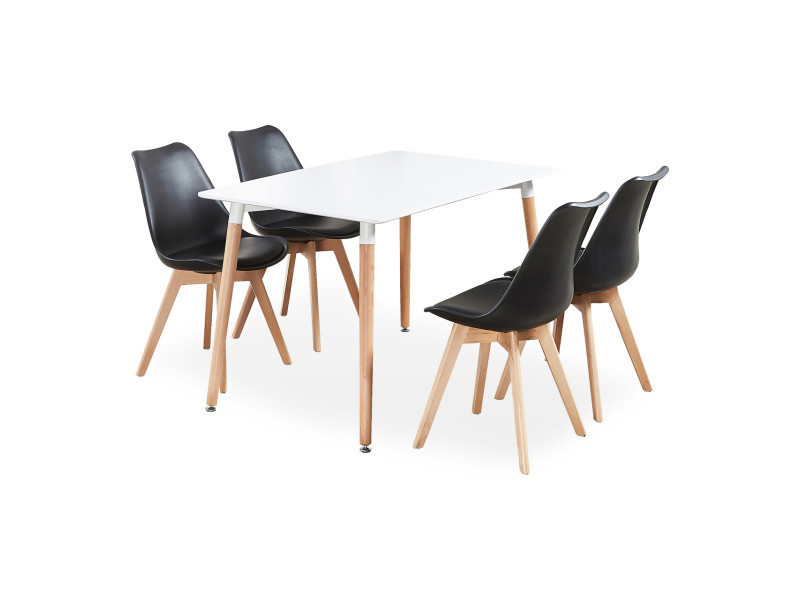 Ensemble salle à manger moderne lorenzo - table blanche + 4 ...