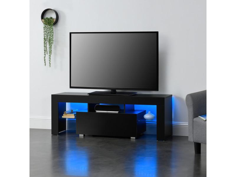 Meuble tv avec éclairage led multicolore banc support design avec étagères de verre et tiroir panneaux de particules mélaminés 130 x 35 x 45 cm noir [en.casa]