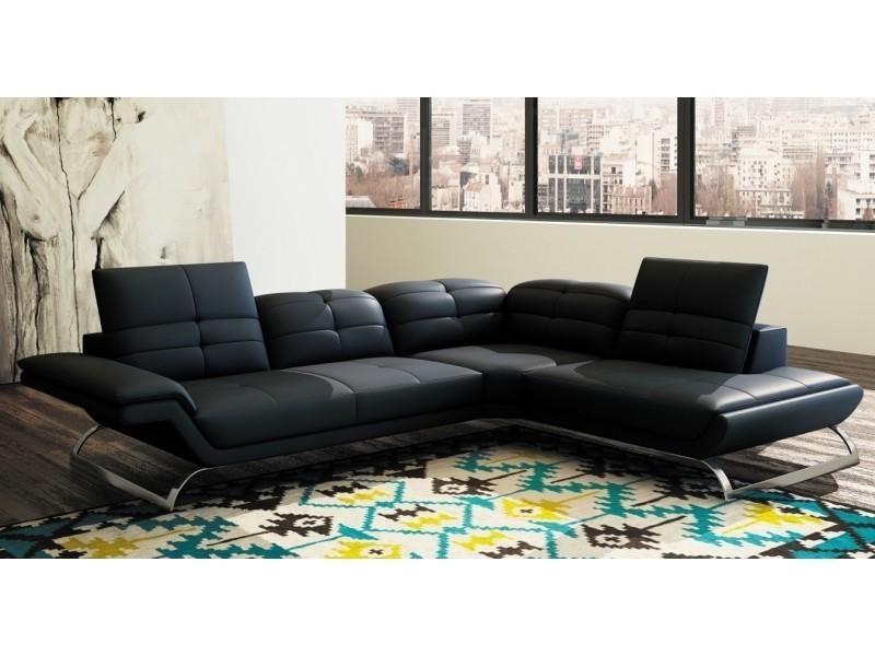 Canapé d'angle design en cuir noir aurore (angle droit)-
